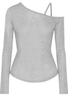 Haute Hippie Woman One-shoulder Marled Modal Top Gray