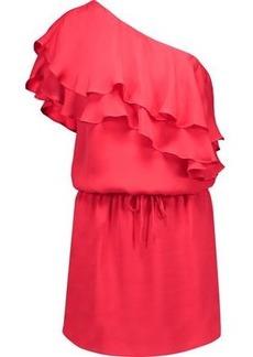 Haute Hippie Woman One-shoulder Ruffled Silk Mini Dress Papaya