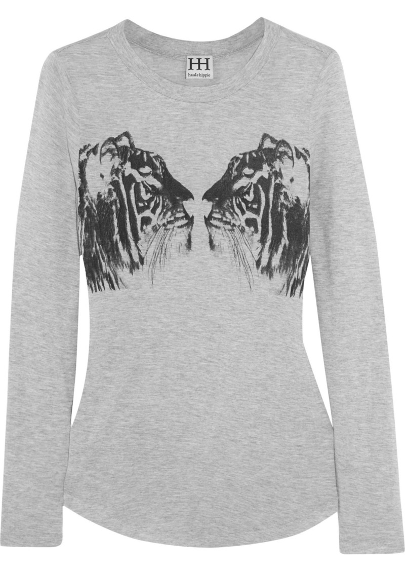 Haute Hippie Woman Printed Modal-jersey Top Stone