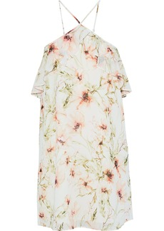 Haute Hippie Woman Ruffle-trimmed Floral-print Chiffon Mini Dress Off-white
