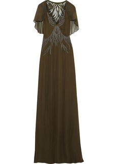 Haute Hippie Woman Shaded Palm Appliquéd Georgette-paneled Embellished Silk Crepe De Chine Gown Army Green