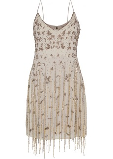 Haute Hippie Woman Taken Fringed Embellished Chiffon Mini Slip Dress Taupe