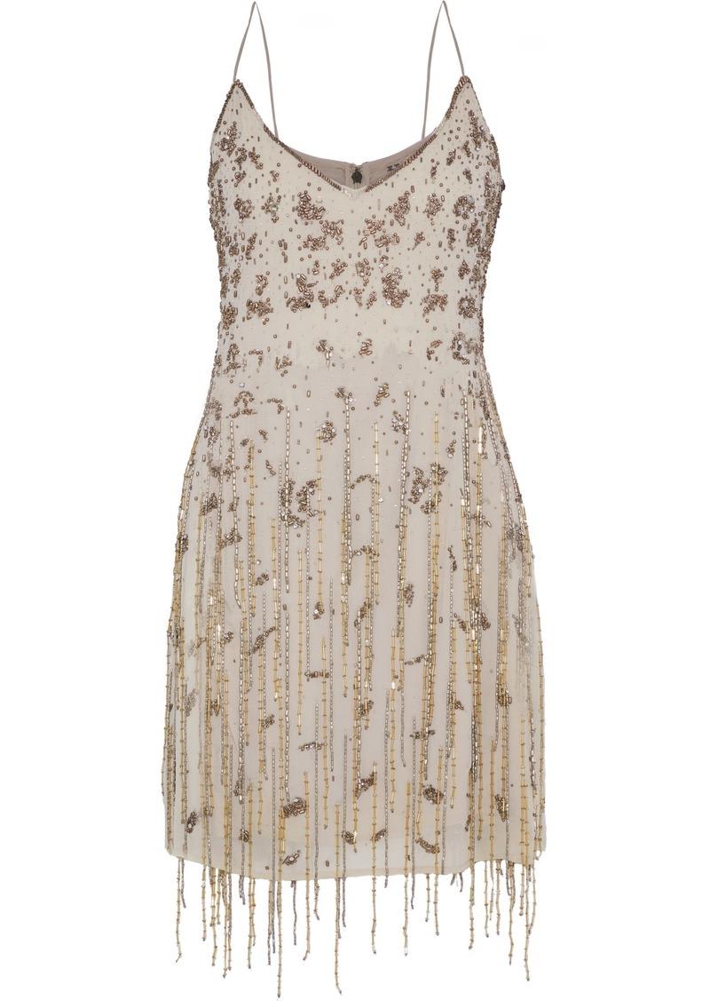 Haute Hippie Woman Taken Fringed Embellished Chiffon Mini Slip Dress Taupe