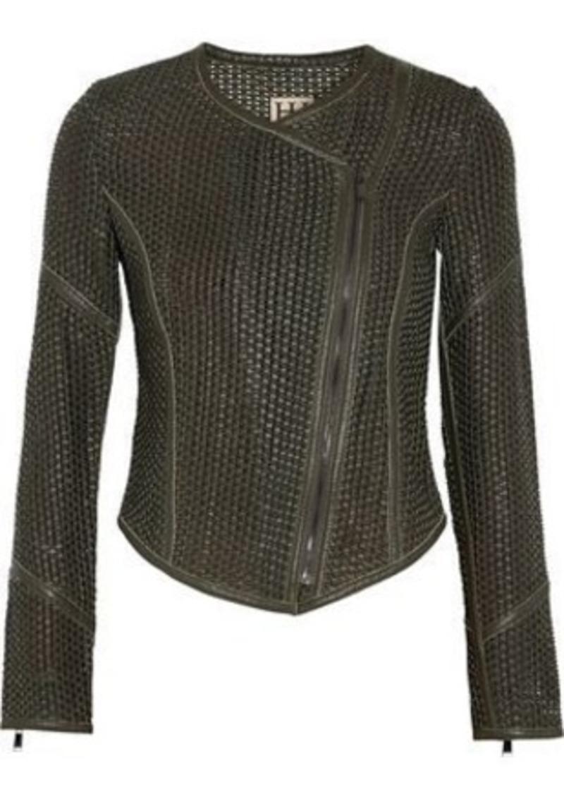 70cca9d76 Woman Woven Leather Biker Jacket Army Green