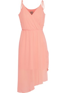 Haute Hippie Woman Wrap-effect Asymmetric Chiffon Dress Blush