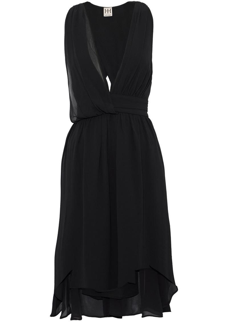 Haute Hippie Woman Wrap-effect Crepe De Chine Midi Dress Black
