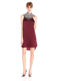 Haute Hippie Women's Embellished High Neck with Hi Low Hem Dress