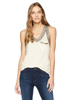 Haute Hippie Women's Embellished V Neck Tank  Extra Small