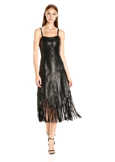 Haute Hippie Women's Leather Slip Dress with Whipsitiching and Fringe  S