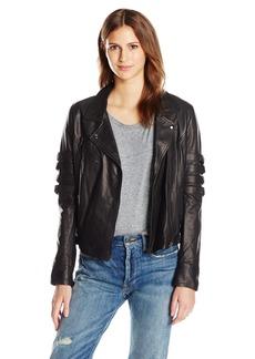 Haute Hippie Women's Moto Jacket with Buckle Sleeves  L