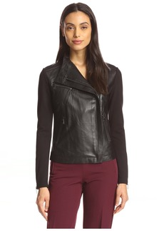 Haute Hippie Women's Seamed Leather Combo Jacket  XS