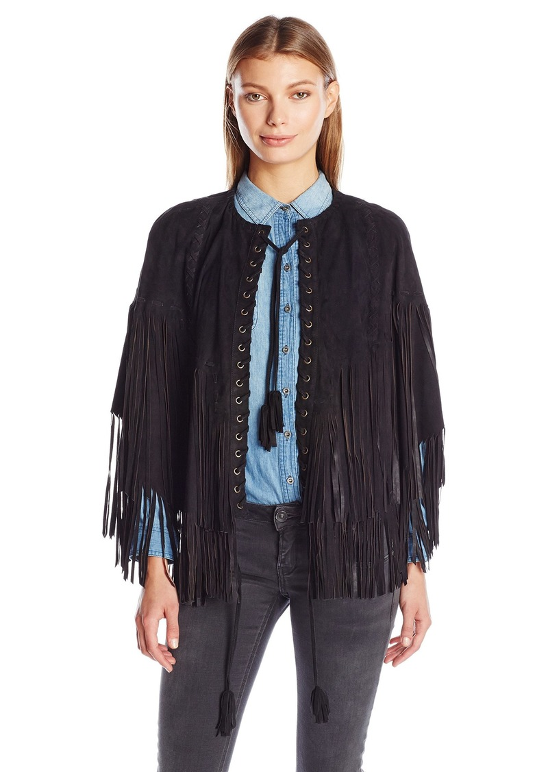 Haute Hippie Women's Step Leather Fringe Poncho  M/L