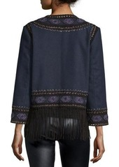 Haute Hippie Wool Lacing Embellished Coat