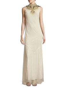 Haute Hippie Mockneck Sleeveless Gown
