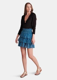 Haute Hippie Paislee Smocked Waist Tiered Mini Skirt