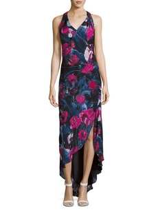Haute Hippie Ruffled Floral Print Hi-Lo Dress