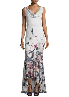 Haute Hippie Sleeveless Cowl-Neck Floral-Print Gown  Anti Ivy/Multi