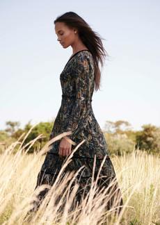 Haute Hippie Rachel Satin Stripe Paisley Print Maxi Dress