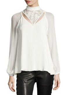 Haute Hippie Through The Looking Glass Mock-Neck Silk Blouse w/ Lace