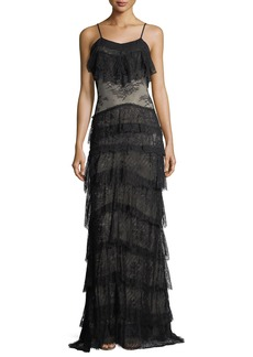 Haute Hippie Tiered Lace V-Neck Sleeveless Column Evening Gown
