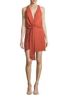 Haute Hippie Trails End Plunging Twist-Front Silk Dress