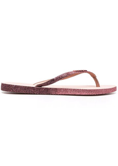 Havaianas glitter-detail logo-embossed flip flops