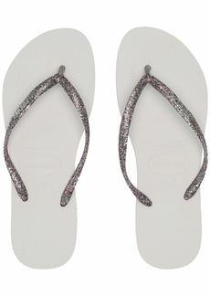 Havaianas Slim Logo Metallic Flip Flop Sandal White Silver (( Women's)