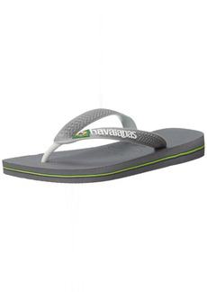 Havaianas Women's Brazil Mix Sandal Flip Flop Steel Grey White 35 BR/6 W US