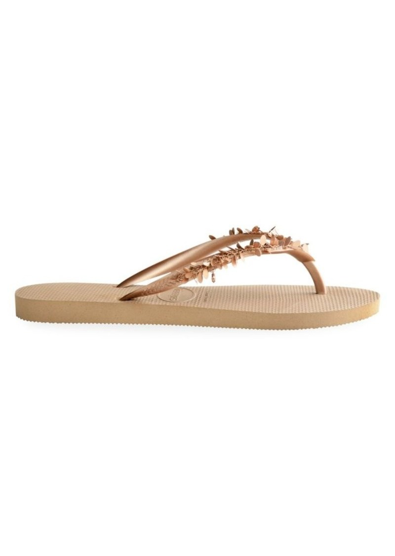 Havaianas Slim Leaves Embellished Flip Flops