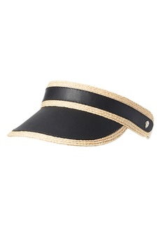 Helen Kaminski Leather & Raffia Visor