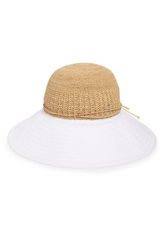 Helen Kaminski Raffia & Cotton Packable Wide Brim Hat