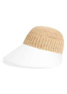 Helen Kaminski Wide Peak Raffia & Cotton Cap
