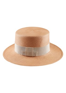 Helen Kaminski Woven Palm Panama Boater Hat