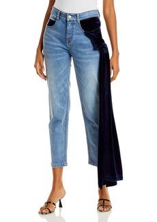 Hellessy Ramy Velvet Drape Cropped Jeans in Medium Wash/Navy