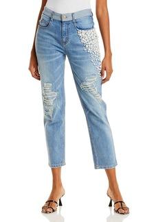 Hellessy Yang Embellished Cropped Jeans in Medium Wash