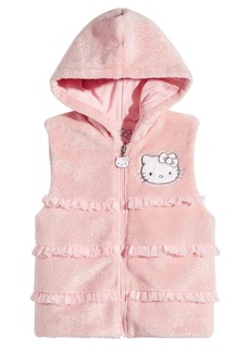 Hello Kitty Toddler Girls Ruffle Trim Faux Fur Hooded Vest