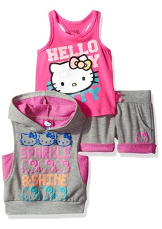 Hello Kitty Baby Girls' 3 Piece Sleeveless Hoodie Short Set  18M