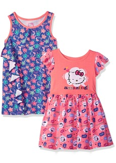 Hello Kitty Big Girls' 2 Pack Knit Dresses with Bows and Ruffles