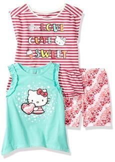 Hello Kitty Big Girls' 3 Piece Short Set With Fashion Tank Top