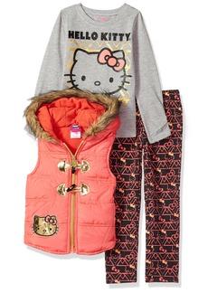 Hello Kitty Big Girls' 3 Piece Tee Vest and Legging Set