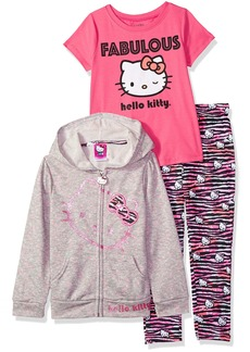 Hello Kitty Big Girls' 3 Piece Zip up Hoodie Legging Set With T-Shirt