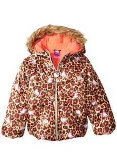 Hello Kitty Big Girls' All Over Printed Puffer Jacket with Fur Trim Hood