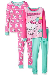 Hello Kitty Big Girls' Balloon 4 Piece Cotton Sleepwear Set