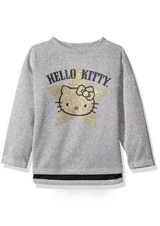 Hello Kitty Big Girls' Metallic Knit Sweatshirt with Glitter Print