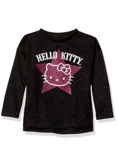 Hello Kitty Big Girls' Metallic Knit Sweatshirt with Glitter Print