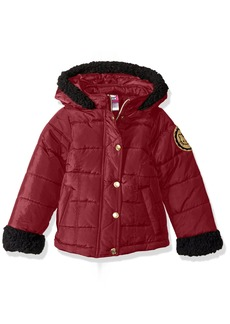 Hello Kitty Big Girls' Puffer Jacket With Sherpa Trim Hood and Sleeves