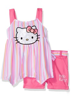 Hello Kitty Big Girls' Short Set with Embellished Fashion Top