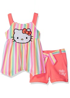 Hello Kitty Big Girls' Short Set with Embellished Fashion Top Multi-Color