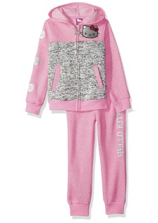 Hello Kitty Big Girls' Sweater Fleece Active Set with Sequins and Glitter Print
