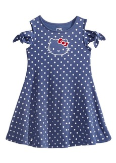 Hello Kitty Cold Shoulder Dot-Print Dress, Little Girls